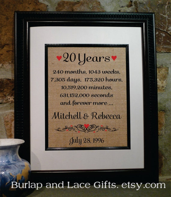 20 Years Wedding Anniversary Gifts: 20 Year Wedding Anniversary Gift 20th Wedding Anniversary