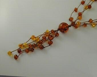 """Amber necklace vintage tassel necklace 24"""" long 17.9 grams"""