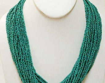 Teal Beaded Necklace / Teal Necklace / Multi Strand Bib Necklace.