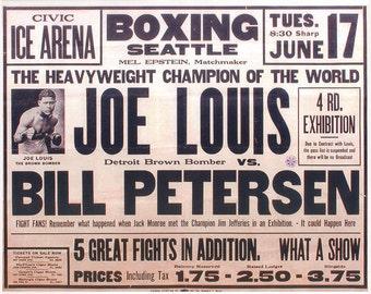 Boxing 1939 Joe Louis vs Bill Petersen Poster - Free shipping