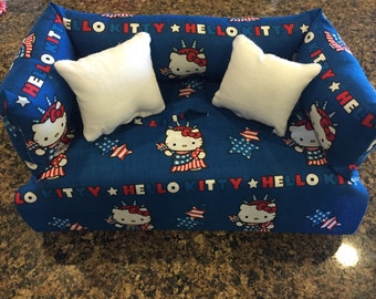 Hello Kitty Red White and Blue Tisue Box Cover, Sofa / Couch, 4th of July