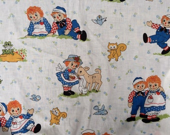 Vintage Fitted Raggedy Ann & Andy Sheet, 1970's