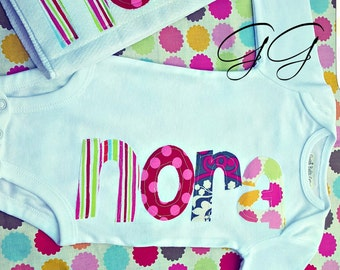 Name Applique Baby Infant Onesie Burp Cloth Set Baby Shower Personalized