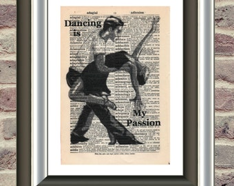 Latin American Dancers vintage Mounted Art Print. An original antique, victorian,dictionary book page. vintage