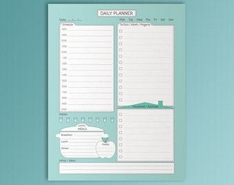 Daily Planner Printable Inserts Turquoise Planner Letter Daily Schedule Day Personal Organizer To Do List Daily Routine Instant Download