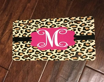 Leopard Print Monogrammed License Plate