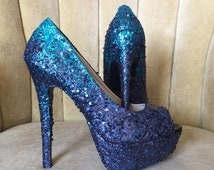 Glitter high heels. Ombre teal and dark navy blue.  Bridal shoes. Sizes 5.5-11