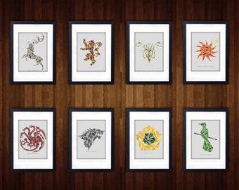 Game Of Thrones Minimalist Photo Prints | 4 x 6 | 5 x 7 | 8 x 10