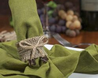 Burlap Napkin Rings with Jute Bow 1 Dozen