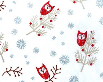 "Owl --- Christmas Tissue Paper / Gift Wrap # 895 ------ 10 Large sheets 20"" x 30"""
