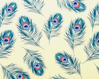 """Peacock Feathers on Ivory Tissue Paper #261 ....10 lg. sheets, 20"""" x 30"""" - Bird Feather"""