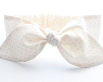 Baby headband, infant headband, knot baby headband - light pink dots on cream