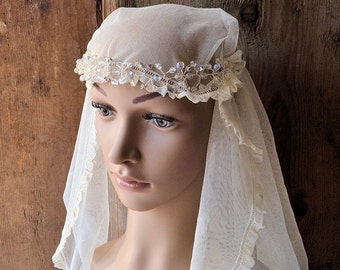 Antique french silk tulle wedding veil, 1920s