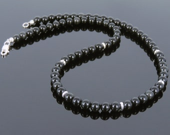 Men's Women Black Obsidian 925 Sterling Silver Necklace Gemstone Beads Clasp DiyNoion Handmade NK094