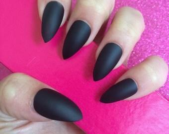 Luxury Hand Painted False Nails. Stiletto Matte Black Nails. 24 Nail Set.