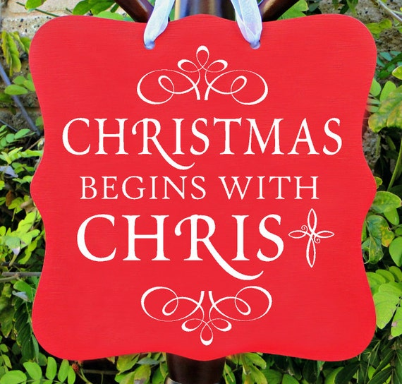 Christmas Sign, Christmas Begins With Christ Sign, Holiday Sign, Holiday, Wall Art, Home Decor, Christmas Gift, Christian