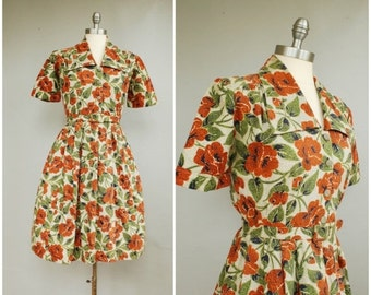 20% SALE Poppy Field Dress • 1940s Cotton Day Dress