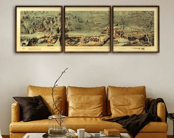 Route of the Mormon pioneers 1899, Vintage Mormon print, in 3 sizes up to 6 ft wide, in 1 or 3 parts, LDS poster - Limited Edition of 100