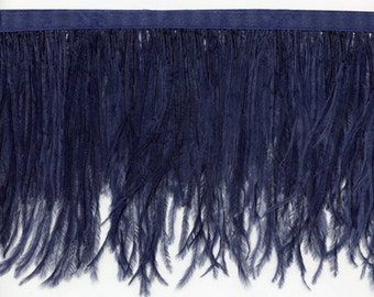 "Navy Ostrich Feather Trim 5"" long.  24 Other Colors Available of Long Feather Fringe - Sale! Only 12.95 per yard"