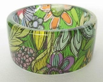 Resin colourful Spring bangle