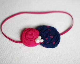 Navy Hot Pink Baby Headband,Newborn Headband,Fuschia,Polka dot,Pink Baby,Boutique Headband,Rosette Flower,Tween,Teen,Baby Shower Gift