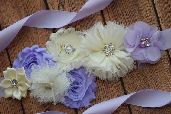 Sash, Violet and ivory Sash , flower Belt, maternity sash