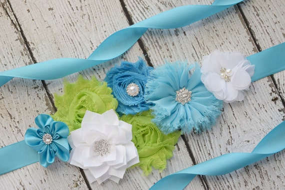 Flower Sash,turquoise, white and lime  Sash#3 , flower Belt, maternity sash