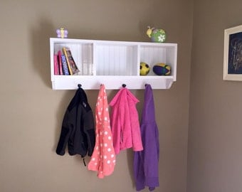 Coat rack with cubbies. Wooden entry way coat rack, mud room storage cubby shelf, baby room storage, children's room storage