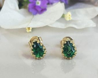 20% off- SALE! May Birthstone Jewelry - Emerald Earrings - Teardrop Earrings - Post Earrings - Delicate Studs - Simple Earrings - Gold Studs