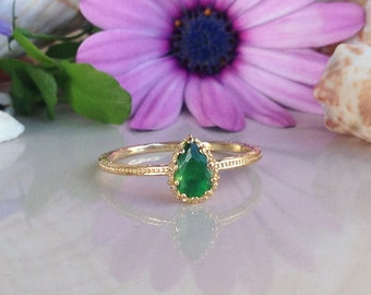 20% off- SALE!! Emerald Ring - May Birthstone - Gemstone Ring - Gold Ring - Bezel Ring - Slim Band - Teardrop ring - Simple Jewelry