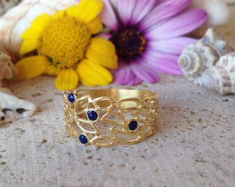 20% off- SALE!! Lapis Ring - Genuine Gemstone - Gold Ring  - September Birthstone  Jewelry - Lapis Lazuli Ring - Semi Precious Ring