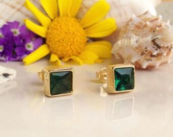 20% off-SALE! Green Tourmaline Earrings - Square Earrings - Post Earrings - Delicate Studs - Simple Earrings - Gold Studs - Green Earrings