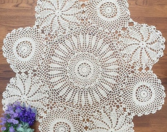 90 CM Round table cloth, crochet pattern table cloth round, vintage round tablecloth for home decor