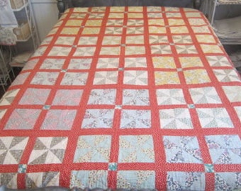 1930's Vintage Feed Sack Quilt-Twin