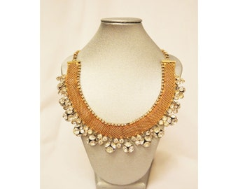 Gold Rhinestone Fireball Necklace