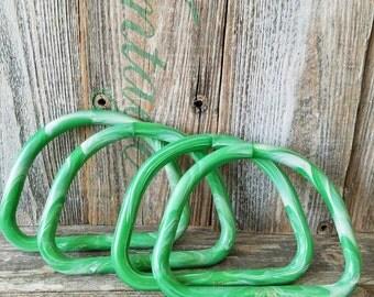Retro Set of 2 Marbella Green Purse Handles, Vintage Craft Purse Making Marble Green Handle