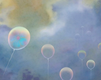 Balloon greeting card, thank you card, art card, note card, blank greeting card, blank card, theme of clouds and balloons + charity donation