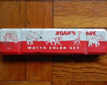Vintage 40's Noah's Ark Watercolor Paint Set Tin Complete w/ 9 Paints