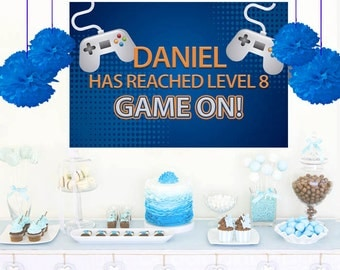 Video Game Personalized Backdrop - Birthday Cake Table Backdrop Birthday- Game On Birthday Backdrop, Custom Party Backdrop