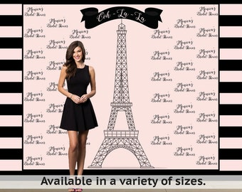 Paris Step and Repeat Personalized Photo Backdrop -Sweet 16 Photo Backdrop- Eiffel Tower Photo Backdrop
