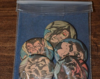 """Vintage """"MONSTERS"""" Comic Buttons - Pack of five 1.25"""" Buttons"""