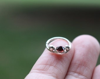 Garnet Septum Ring || Sterling Silver Septumn Ring. Nose Ring.