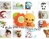 Set of 3, 5, or 8 Patterns-PDF files-Pattern Pack-Pattern Bundle-Pattern Sale-Sewing tutorial-Nursery Decor-Felt Characters-Cute Felt Toys