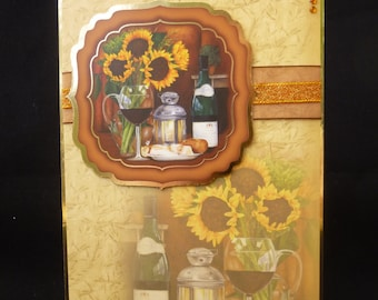 Sunflowers & Red Wine 3d Card - Male Design - Uk Made - Suitable for birthday, thank you, get well etc