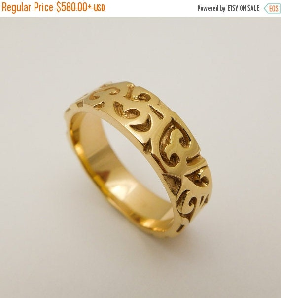 on sale 14 karat solid gold wedding ring wide by