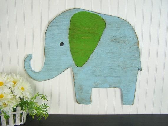 Wooden Elephant Wall Art Baby Elephant Nursery Decor Safari