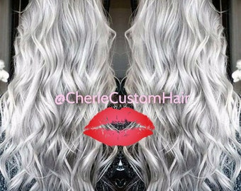"""READY TO SHIP! Balayage Dip Dye 8A Remy Human Hair Extensions Double Weft Clip Ins   Silver White 15"""""""