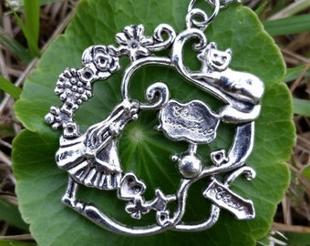 Alice Fantasy Necklace/Antique Silver Jewelry/Steampunk/Gift For Her/Alice Necklace/Alice Pendant Necklace
