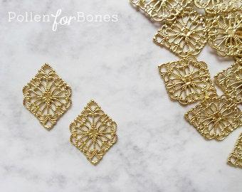 10pcs ∙ Diamond Filigree Ornate European Floral Vintage Lace Wrap Brass Stamping Jewelry Supplies
