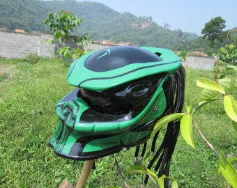 Motorcycle Green color glosy helmet predator black motif custom design